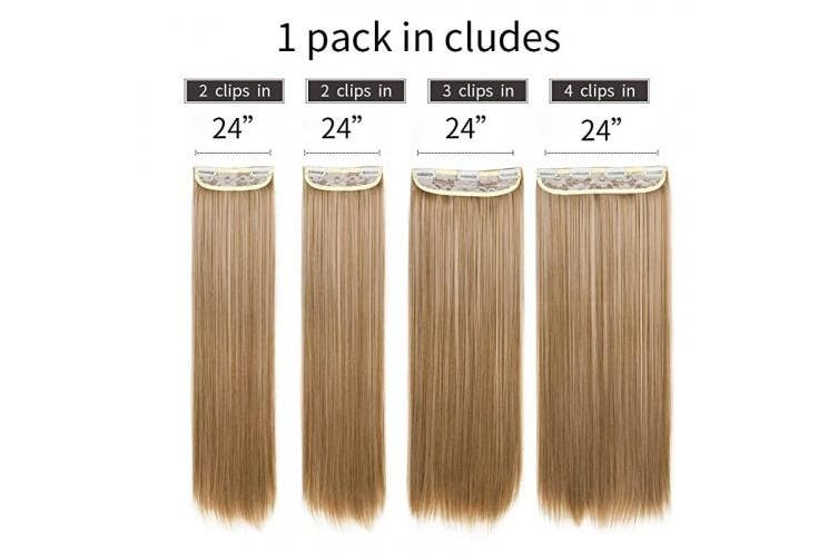 (36cm  (160 Gramme), 27/613 - Straight) - REECHO 36cm Straight Short Length Long 4 PCS Set Thick Clip in on Hair Extensions 27/613