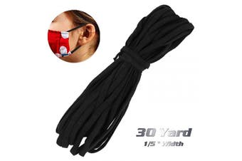 (30 yard) - 0.5cm Elastic Mask Strap String, 30 Yards Black Stretchy Cord Securing Holder Earloop Lingerie Band, Soft Ear Tie Rope Handmade DIY Craft How to Make, Thin String (not 1/8) for Sewing Trim