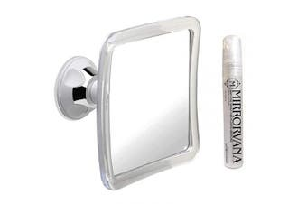 Mirrorvana Fogless Shower Mirror for Fog Free Shaving with Upgraded Suction-Cup (16cm x 16cm ) and Mirrorvana Anti-Fog Spray for Shower Mirror