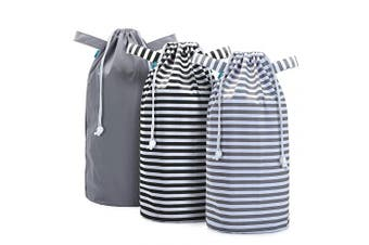 (Drawstring Closure, Gray +Gray Strips +Black Strips) - Teamoy Pail Liner for Cloth Nappy(Pack of 3), Reusable Nappy Pail Wet Bag with Drawstring, Fits for Dekor, Ubbi Nappy Pails, Grey +Grey Strips +Black Strips