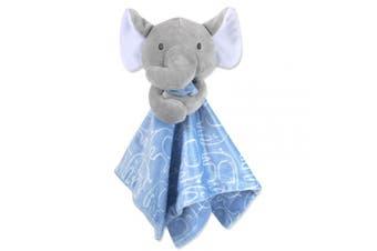 (Grey/Blue) - Minky Snuggle Blankets – Animal Character Loveys for Babies (Grey/Blue)
