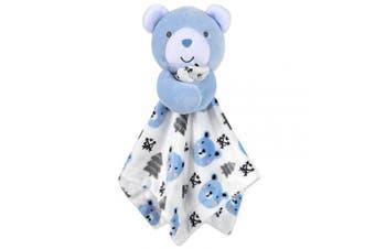 (White/Blue) - Minky Snuggle Blankets – Animal Character Loveys for Babies (White/Blue)
