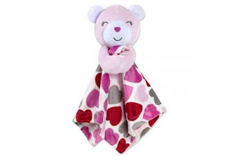 (Pink/White) - Minky Snuggle Blankets – Animal Character Loveys for Babies (Pink/White)
