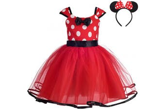(3-4 Years, Red) - Lito Angels Girls Minnie Polka Dots Princess Dress up Costume Birthday Holloween Christmas Fancy Party Tutu Dresses with Hair Hoop Size 3-4 Years Red