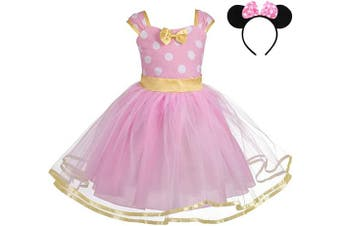 (18-24 Months, Pink) - Lito Angels Baby Girls Minnie Polka Dots Princess Dress up Costume Birthday Holloween Christmas Fancy Party Tutu Dresses with Hair Hoop Size . Pink