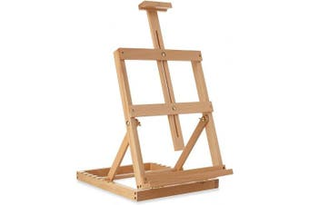 7 Elements Tabletop H-Frame Beechwood Artist Studio Painting Easel, Adjustable Holds Canvas to 60cm