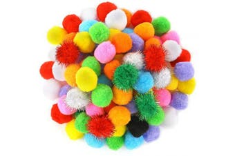 Caydo 80 Pieces 3.8cm Pompoms Arts and Crafts with Glitter Pom Poms Ball for DIY Creative Crafts Decorations