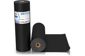 Black Kraft Arts and Crafts Paper Roll - 30cm by 46m (4570cm ) - Ideal for Paints, Wall Art, Easel Paper, Fadeless Bulletin Board Paper, Gift Wrapping Paper and Kids Crafts - Made in USA