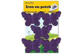 (dark purple) - A-54, 5 Dark Purple(Avega) Butterfly Patches Bug Embroidered Iron On Applique PatchEach Measures: 2.95 x 1.96 inches (7.5cm x 5.0cm)