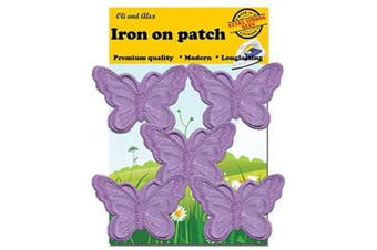 (purple) - A-56,Extra Strong Glue 5 Purpure(Avega) Butterfly Patches Bug Embroidered Iron On Applique Patch 2.95 x 1.96 inches(7.5cm x 5.0cm)