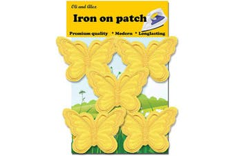 (yellow) - A-55, 5 Yellow(Avega) Butterfly Patches Bug Embroidered Iron On Applique Patch 2.95 x 1.96 inches (7.5cm x 5.0cm)