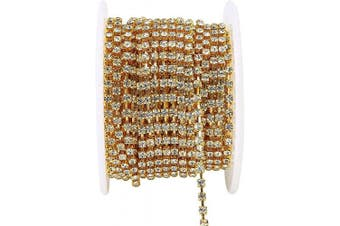 (ss8.5(2.5mm), CRYSTAL CLEAR (gold cup)) - Choupee Rhinestone Cup Chain for Jewellery Making - Crystal Clear Gold Cup 10 Yards Rhinestone Cupchain Rhinestone Trim Chain Claw Chain, Crystal Bead Chainby Yard for Dresses, Crafts