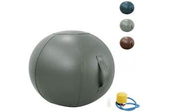 (65 cm, Grey) - Guken Sitting Ball Chair with Cover, Exercise Yoga Ball for Office and Home Muscle Training Fitness,65cm/75cm Workout Ball with Pump and Handle