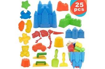 25 Pcs Kids Beach Sand Toys Set, Beach Toys Includes Castle Bucket, Sand Moulds, Beach Shovel Tool Kit, Sand Castle Building Kits, Kids Outdoor Toys Sandbox Toys for Toddlers Kids Outdoor Play