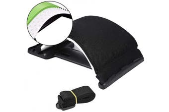 (Black/Green) - Lumbar Back Stretching Device,Memory Foam Cushion Back Support for Office Chair and Pain Relief ,Multi-Level Back Stretcher DeviceRelief(White/Black)