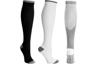 (Large-X-Large, Black+white+grey) - Compression Socks for Women and Men Stocking for Running,Athletic,Travel,Nurses
