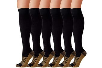 (Large-X-Large, Black) - Compression Socks for Women and Men Stocking for Running,Athletic,Travel