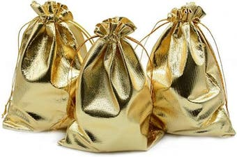 (13cm  x 18cm , Gold) - BEAVO Pack of 100 13cm x 18cm Heavy Duty Gold Drawstring Organza Jewellery Pouches Wedding Party Christmas Favour Gift Candy Chocolate Bags (Gold, 13cm x 18cm )