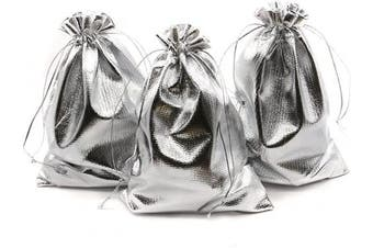 (13cm  x 18cm , Silver) - BEAVO Pack of 100 13cm x 18cm Heavy Duty Gold Drawstring Organza Jewellery Pouches Wedding Party Christmas Favour Gift Candy Chocolate Bags (Silver, 13cm x 18cm )