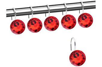 (Red) - Shower Curtain Hooks Rings, 12pcs Acrylic Decorative Rhinestone Shower Hooks Bling Round Diamond Design Chrome Finish Rings S Hook Roller Hooks for Hanging Curtain Bathroom Home Hotel Living Room