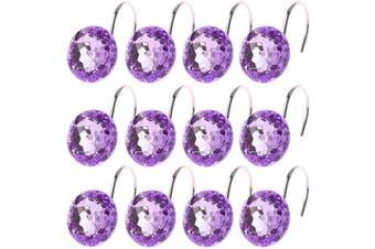 (Purple) - Shower Curtain Hooks Rings, Acrylic Decorative Shower Hooks Bling Round Diamond Design Chrome Finish Rings S Hook Roller Hooks for Hanging Curtain Bathroom Home Hotel Living Room, Set of 12