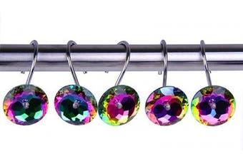 (Multi) - Decorative Shower Curtain Hooks Rings for Bathroom Bathtubs Home Decor Accessories Bling Acrylic Rhinestone Pink Crystal Diamond, Stainless Steel Anti Rust (Multi)