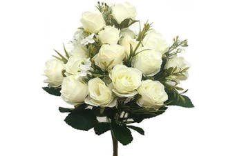 (Rose-white-2pcs) - CATTREE Artificial Rose Flowers, Artificial Silk Fake Flowers 5 Branch 10 Heads Leaf Rose Wedding Floral Decor Bouquet for Home Garden Party Wedding Decoration (White) 2pcs