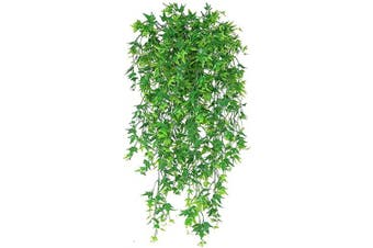 (Sweet Potato Vine-green-2 Pcs) - Artificial Hanging Vine, Sweet Potato Leaves Plastic Plants Greenery Faux Ivy Garland Fake Plant UV Resistant for Indoor Outdoor Garden Door Wall Baskets Wedding Party Table Decoration Green 2 Pcs