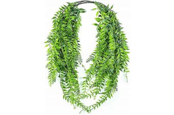 (Hanging Vine Willow-2 Pcs) - Artificial Hanging Vine, Weeping Willow Plastic Plants Greenery Leaves Fake Plant Faux Ivy Garland UV Resistant for Indoor Outdoor Garden Door Wall Baskets Wedding Party Table Decor Decoration - 2 Pcs