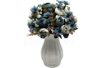 (Peony-blue-4pcs) - CATTREE Artificial Peony Bud Mixed Flowers, 4pcs Plastic Plants Silk Fake Flowers Bouquet Bridal Home Garden Office Kitchen Bathroom Table Centrepieces Wedding Decor Decorations Blue