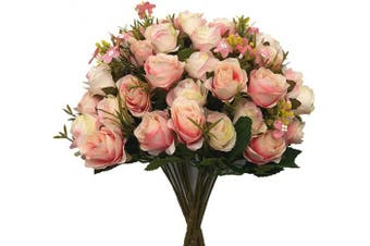 (Rose-pink Champagne-4pcs) - CATTREE Artificial Flowers, Budding Fake Flowers Bouquet 5 Branch 10 Heads Silk Roses Bridal Home Garden Office Dining Table Wedding Decor (Pink Champagne) 4 pcs