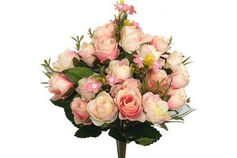(Rose-pink Champagne-2pcs) - CATTREE Artificial Flowers, Budding Fake Flowers Bouquet 5 Branch 10 Heads Silk Roses Bridal Home Garden Office Dining Table Wedding Decor (Pink Champagne) 2 pcs