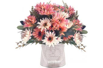 (Chrysanthemum-champagne-4pcs) - Artificial Chrysanthemum Flowers, Vintage Silk Herbaceous Daisy Fake Sunflowers Bouquet Home Bridal Wedding Hotel Office Party Garden Centrepieces Arrangements Simulation Decoration Champagne 4pcs