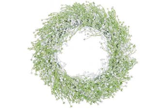 """(16.5"""" Baby's Breath) - HEBE 42cm Artificial Baby's Breath Flower Wreath for Front Door White Floral Wreath Welcome Farmhouse Door Wreath for Wedding, Wall, Window,Backdrop,Home Décor"""