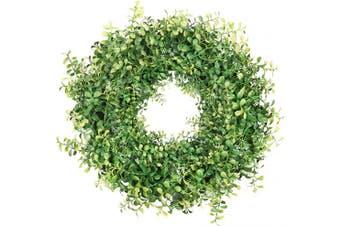 """(20"""" Green Boxwood) - HEBE 50cm Large Green Front Door Wreath Artificial Greenery Boxwood Welcome Door Wreath for Front Door Indoor Outdoor Wall Home Spring Summer Holiday Decor"""