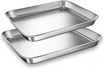 (23cm ) - Cookie Sheets Pans for Toaster Oven,Small Stainless Steel Baking Sheet Tray, BYkooc Dishwasher Safe Oven Pan, Anti-rust, Sturdy & Heavy, 9 x 7 x 1 & 10 x 20cm x 2.5cm , 2 pcs/set