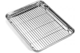 (12inch) - Baking sheets and Rack Set, Zacfton Cookie pan with Nonstick Cooling Rack & Cookie sheets Rectangle Size 12.5 x 25cm x 2.5cm ,Stainless Steel & Non Toxic & Healthy,Superior Mirror Finish & Easy Clean