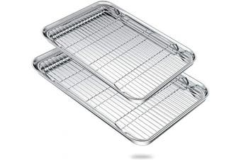 (20inch and 24inch) - Large Baking Sheets Set, Zacfton Huge Baking Pans & Stainless Steel Cookie Sheets with Racks & Toaster Oven Tray Pans, Rectangle Size 60cm & 50cm & Non Toxic & Healthy,Superior Mirror & Easy Clean