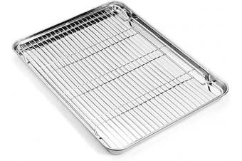 (16inch) - Zacfton Baking sheets Rack Set, Cookie pan Nonstick Cooling Rack & Cookie sheets Rectangle Size 16 x 30cm x 2.5cm ,Stainless Steel & Non Toxic & Healthy,Superior Mirror Finish & Easy Clean
