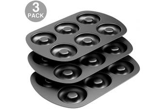 (3) - Non-Stick 6-Cavity Donut Baking Pans, Makes Individual Full-Sized 8.3cm Donuts, Set of 3