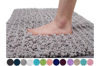 (80cm  x 50cm , Gray) - Yimobra Original Luxury Chenille Bath Mat, Soft Shaggy and Comfortable, Large Size, Super Absorbent and Thick, Non-Slip, Machine Washable, Perfect for Bathroom (80cm X 50cm , Grey)