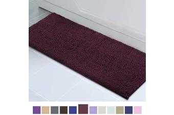 (50cm  x 150cm , Burgundy) - ITSOFT Non Slip Shaggy Chenille Soft Microfibers Runner Large Bath Mat for Bathroom Rug Water Absorbent Carpet, Machine Washable, 50cm x 150cm Burgundy