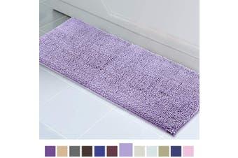(50cm  x 150cm , Lavender) - ITSOFT Non Slip Shaggy Chenille Soft Microfibers Runner Large Bath Mat for Bathroom Rug Water Absorbent Carpet, Machine Washable, 50cm x 150cm Lavender