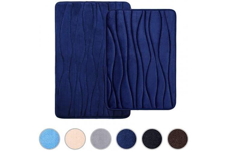 43cm X 60cm 50cm X 80cm Navy Blue Buganda Memory Foam 2 Pieces Bath Rugs