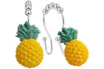 (Yellow Pineapple) - DELIWAY Double Glide Shower Curtain Hooks Rust-Resistant Stainless Steel Shower Curtain Rings for Hanging Curtain and Liner at Same Time, Set of 12 (Yellow Pineapple)