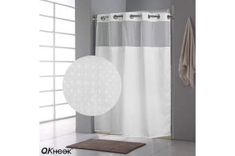 (1 Pack, 180cm  x 190cm , Waffle) - QKHook Fabric Shower Curtain with Snap in Liner Waffle Pattern 1 Pack 180cm x 190cm Water Resistant