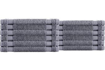 (Washcloths - 12 Piece Set, Grey) - Classic Turkish Towels Luxury Washcloth Towels - Soft and Plush Hotel and Spa Quality 12 Piece Set Made with 100% Turkish Cotton (Grey)