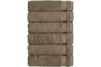 (Hand Towels - 6 Piece Set, Coffee) - Classic Turkish Towels Luxury Hand Towels - Soft and Plush Hotel and Spa Quality 6 Piece Set Made with 100% Turkish Cotton (Coffee Bean)