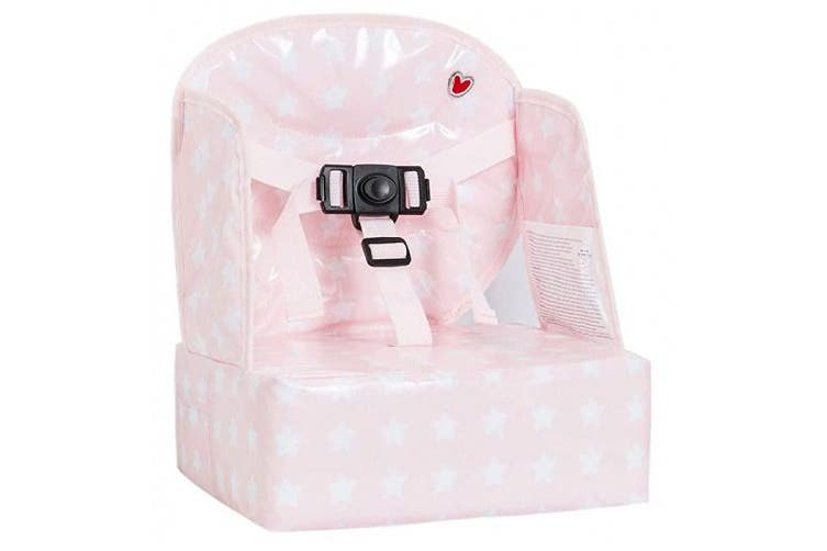 (Pink Stars) - Baby-to-Love Easy Up, Toddler Girl Booster Seat for Dining Table (Pink Stars)