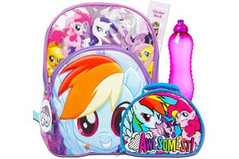 My Little Pony Backpack with Lunchbox Set -- Deluxe Backpack with My Little Pony Lunch Box, Water Bottle and Stickers (School Supplies)
